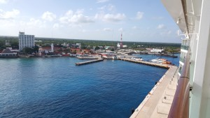 View of the cruise pier in Cozumel from our balcony.