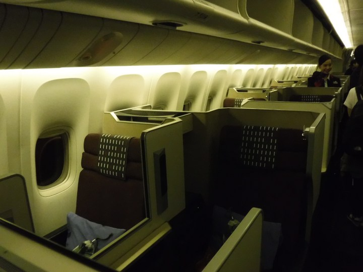 JAL 777 business class cabin