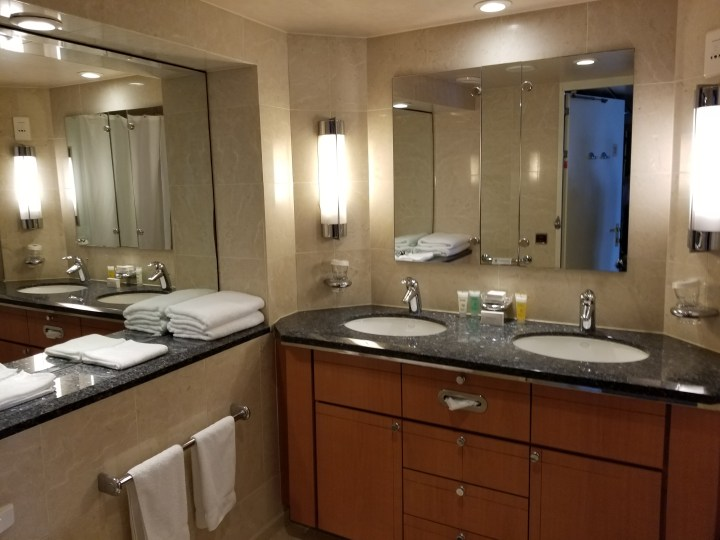 The bathroom in a Grand Suite on the Royal Caribbean Liberty of the Seas.