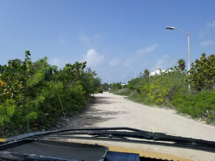 The dirt road to Maya Chan Beach in Costa Maya, Mexico.