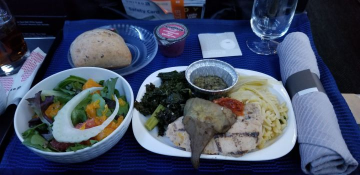 United First Class Meal from Houston To San Juan.