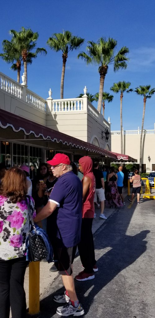 Line outside Versailles Restaurant in Little Havana on a Sunday evening.