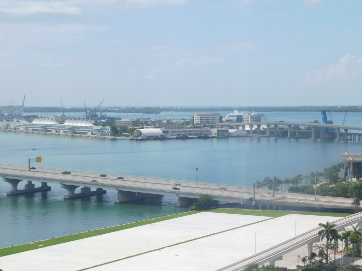 The view from a Bay View Room at the Hilton Miami Downtown.