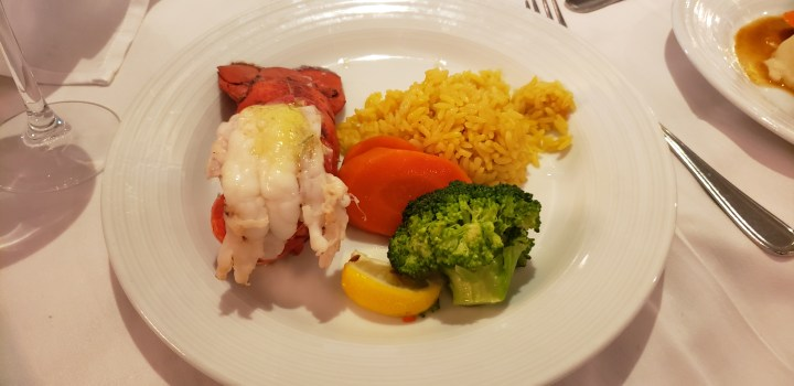 The Royal Caribbean Main Dining Room Menu on Liberty of the Seas included lobster tail on the second formal night.