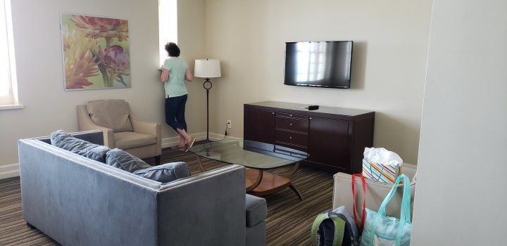Our Hotel Galvez suite had plenty of space for the family to spread out.