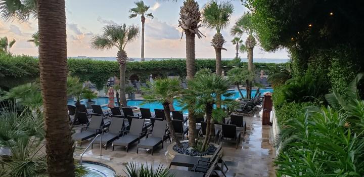 The beautiful Hotel Galvez pool.