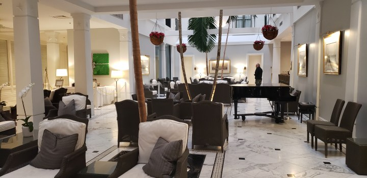 There are two hotels within walking distance of the Galveston cruise pier. Pictured here is the lobby of the Tremont House, the more upscale of the two options.