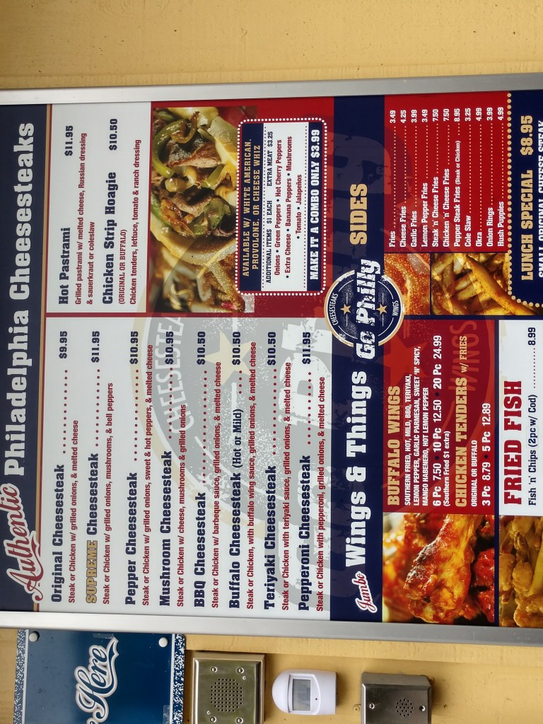 Go Philly menu