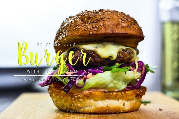 Spicy grilled Burger with a purple cabbage slaw & lettuce