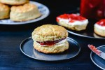 Butter Scones with strawberry Jam and cream