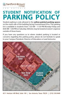 Parking Policy Poster | Sanford-Brown College