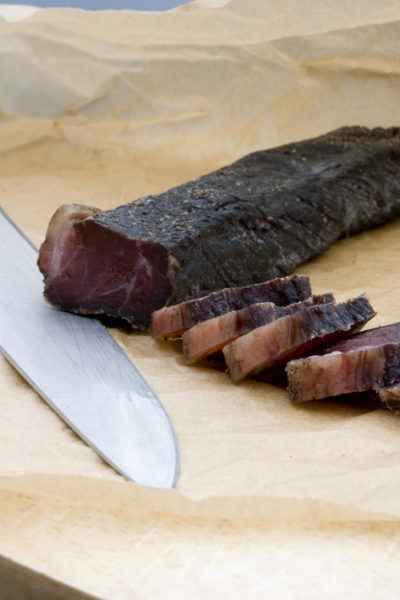 Slices of biltong (South African salted meat)