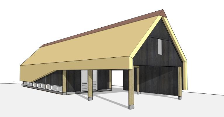 carport rieten dak met guesthouse | Dingemans Architectuur
