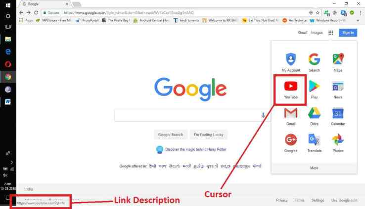 Know link address in chrome browser