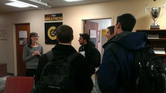 Program Manager, Rebecca Thorman, talks to students about Innovation Fridays
