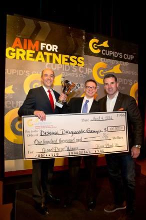 L-R: Dean, Alex Triantis; 2014 Grand Prize Winner, John Lewandowski; Cupid's Cup Chairman, Kevin Plank.