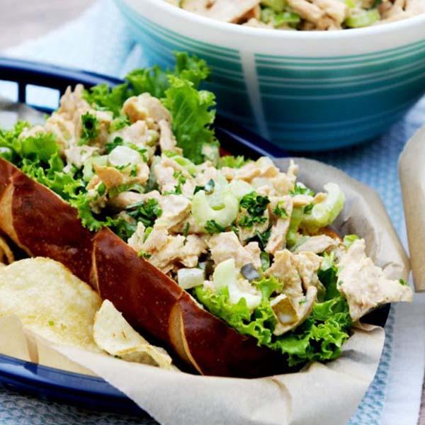 Vegan Chicken Salad from Fried Dandelions