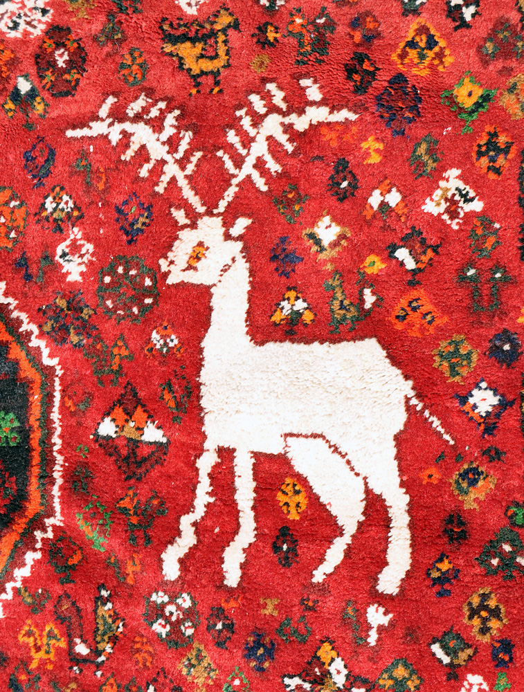 Large Fantastic Lion And White Reindeer Qashqai Rug 10 Ft 5 In