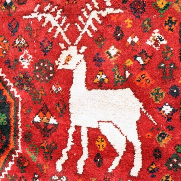White Reindeer & Lion Qashqai Rug -- Q0055
