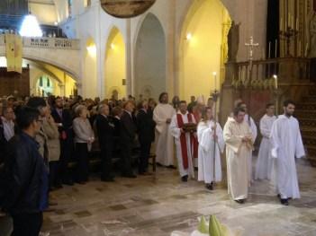 La cúpula eclesiàstica entrat a l'Ofici amb les cendres de D. Joan Rotger