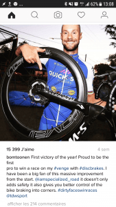 Tom Boonen et ses freins à disque à San Juan. Photo : Instagram Tom Boonen