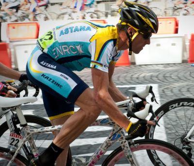 Lance Arsmtrong sur le Tour de France 2009 lors de son retour avec Astana