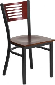 hercules series black decorative slat back metal restaurant chair mahogany wood back seat xu dg 6g5b mah mtl gg 2 196x300 - Chairs