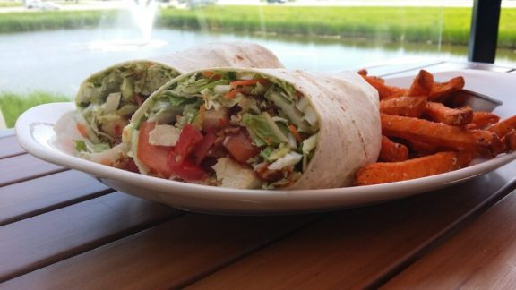 Thai Chicken Wrap for lunch at Five West Kitchen + Bar in Rochester, MN