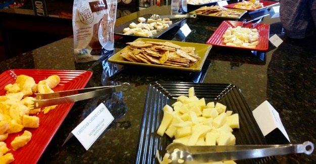 Cheese samples at New Glarus Hard Hat Tour
