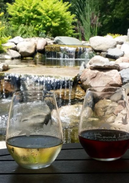 Wine and a waterfall at Round Lake Winery