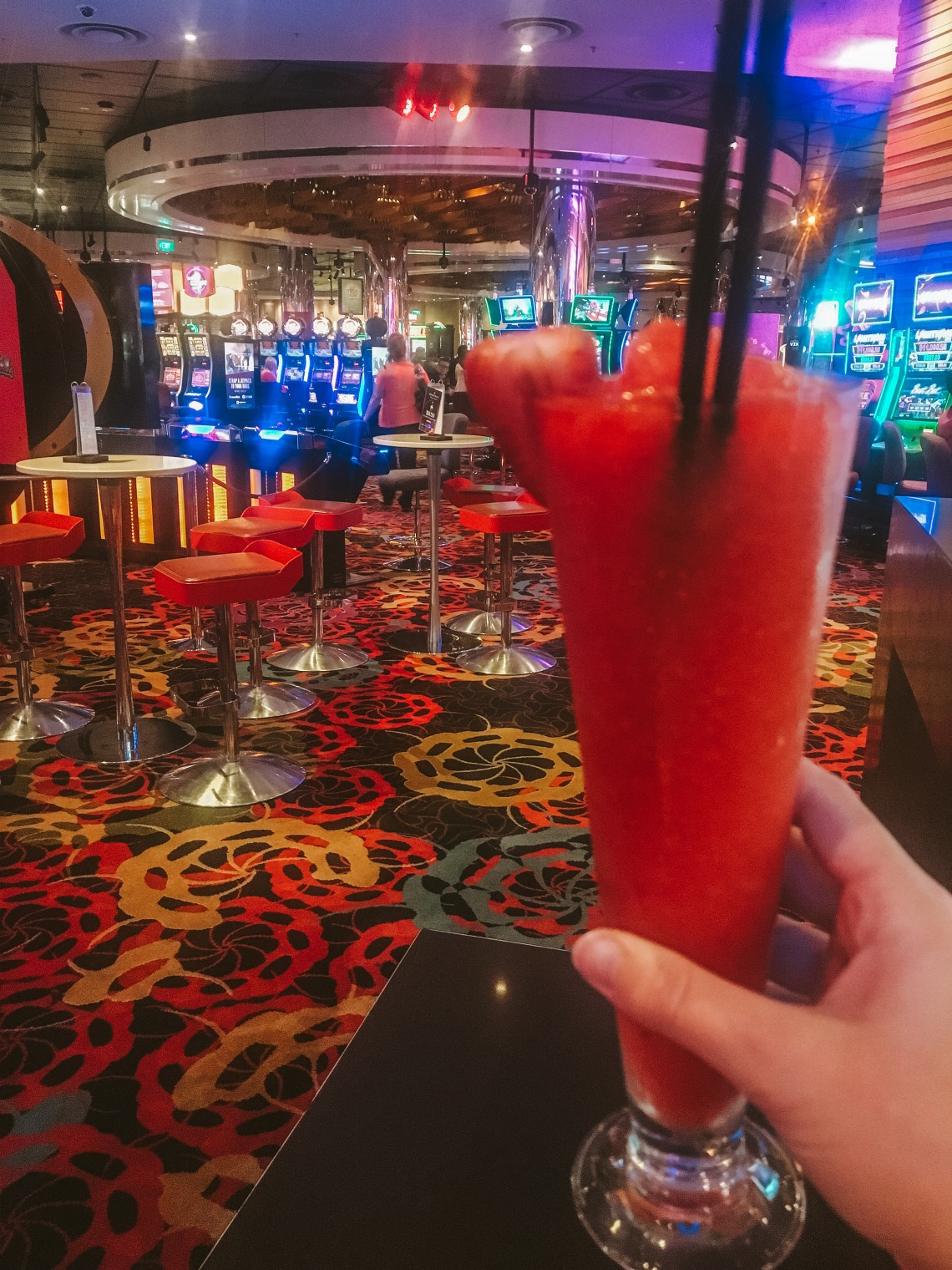 Drinking cocktails at the casino in Melbourne