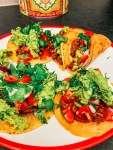 Ground beef tacos with homemade guacamole