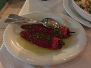 Red peppers from florina were mild and we wished there had been more than 2 on the plate.