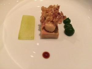 duck liver terrine with pickled cucumber & ginger-leek cream