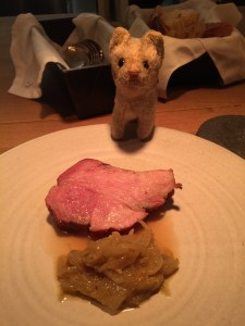Frankie endorsed the pork neck, onions and chamomile