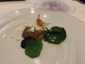 Duck foie gras with mulberry, sour plum, nasturtium and foie gras powder