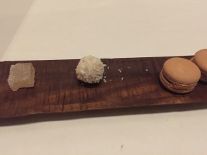 Citrus jelly, white chocolate with mango and coconut, Thai tea macaroon