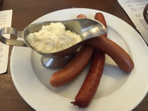 Sausages with horseradish cream
