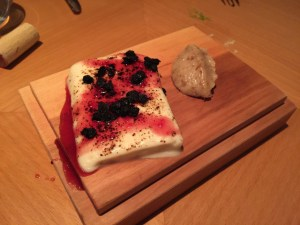 sharp cheese with berries and roasted and caramelized onion butter