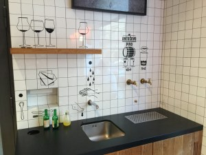sink for washing up and beverage taps