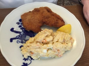 Chicken schnitzel and potato salad