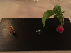 Radish with butter, pigeon liver sandwich