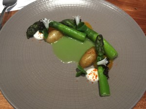 Asparagus with caviar, prawn roe powder, yolk jam, Meyer lemon, potato and creme fraiche