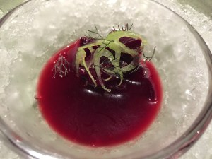 Beet with preserved cherry blossoms from last year, bronze fennel