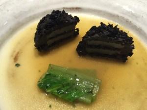 Black trumpet-sunchoke dumpling, braised lettuce, brown butter-mushroom sauce