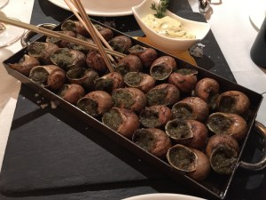 """La llauna"" style snails with herbs from Pyrenees (romani, farigola, ajeddrea) and olive oil"