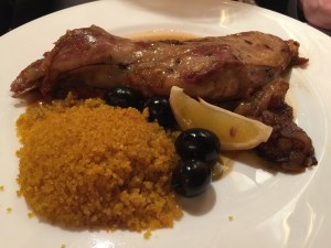 Oven roasted spring lamb shoulder, Moroccan style saffron cous-cous and roasted quince