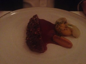 Duck roasted with peaches and fennel