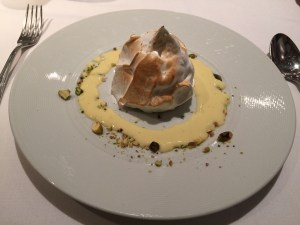 Baked Alaska: Morello cherry sorbet, toasted pistachio, sauce anglaise