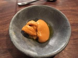 Uni with chickpea puree, hozon, lemon and olive oil